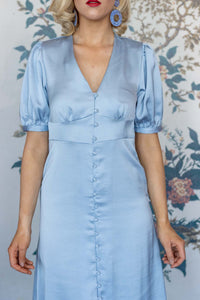 Baby Blue Button Front Midi Dress