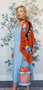 Designer Silk Scarf , Burnt Orange & Blue, Daily Mantras