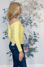 Load image into Gallery viewer, Yellow & White Stripe Off Shoulder Top