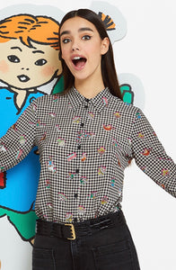 Classic Vichy Shirt with fun cartoon motifs