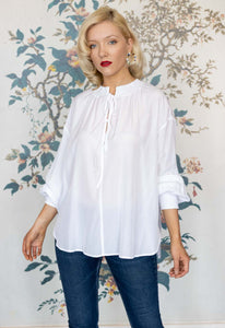 White Long Sleeve Blouse with Ruched Cuff & Collar