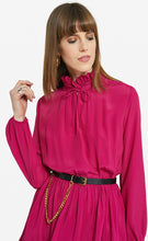 Load image into Gallery viewer, Cerise Pink Silk  Mini Dress with Ruffle