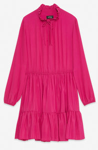 Cerise Pink Silk  Mini Dress with Ruffle