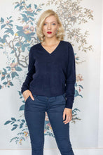 Load image into Gallery viewer, Navy Lambswool V-Neck Jumper