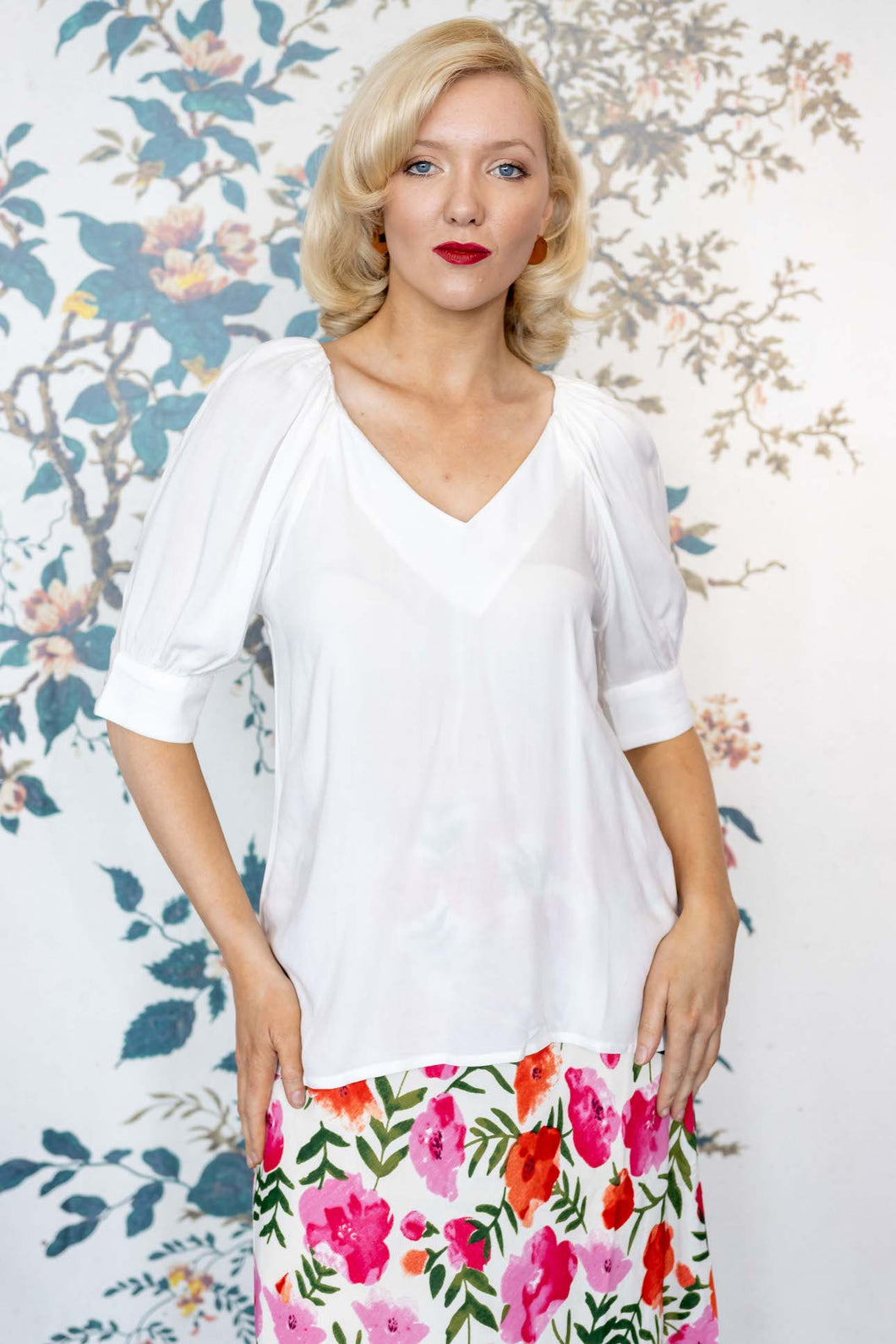 White Cotton Top with Puff Sleeves