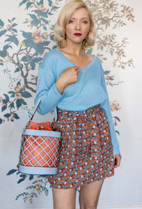 Blue & Orange Tresle Bucket Bag