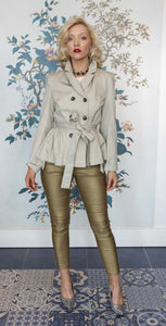 Limestone Double Breasted Designer Trench Jacket