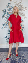 Load image into Gallery viewer, Red Cotton Trapeze & Belted Dress