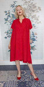 Red Cotton Trapeze & Belted Dress