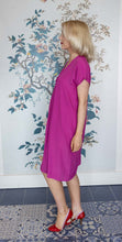 Load image into Gallery viewer, Cerise Pink Silk Mix Dress with tuck gathering