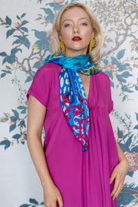 Cerise Pink Silk Mix Dress with tuck gathering