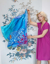 Load image into Gallery viewer, Susannagh Grogan Large Blue & Pink Silk Scarf