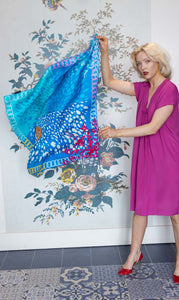 Susannagh Grogan Large Blue & Pink Silk Scarf