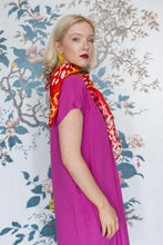 Load image into Gallery viewer, Susannagh Grogan Large Red & Pink Silk Square Scarf