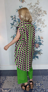Pink, Green, Black Circle Print Shift Dress/Tunic