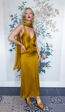 Load image into Gallery viewer, Gold Satin Slip Dress with Shawl
