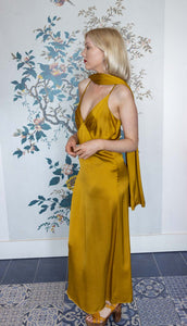 Gold Satin Slip Dress with Shawl