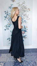 Load image into Gallery viewer, Black V-Neck Satin Mix Maxi Dress