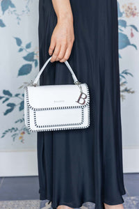 White Mini Kelly Bag with Trim