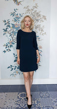Load image into Gallery viewer, Navy Crepe Shift Dress with Sleeves