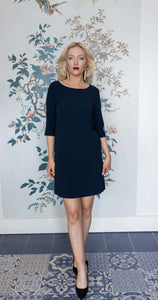 Navy Crepe Shift Dress with Sleeves
