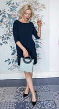 Load image into Gallery viewer, Mint Green Bag with Navy Circle Handle