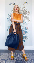 Load image into Gallery viewer, Long Tobacco , Navy & Orange Skirt with Sash Belt