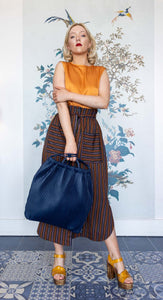 Long Tobacco , Navy & Orange Skirt with Sash Belt