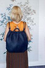 Load image into Gallery viewer, Navy Pleated Rucksac Handbag