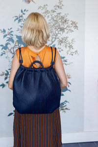 Navy Pleated Rucksac Handbag