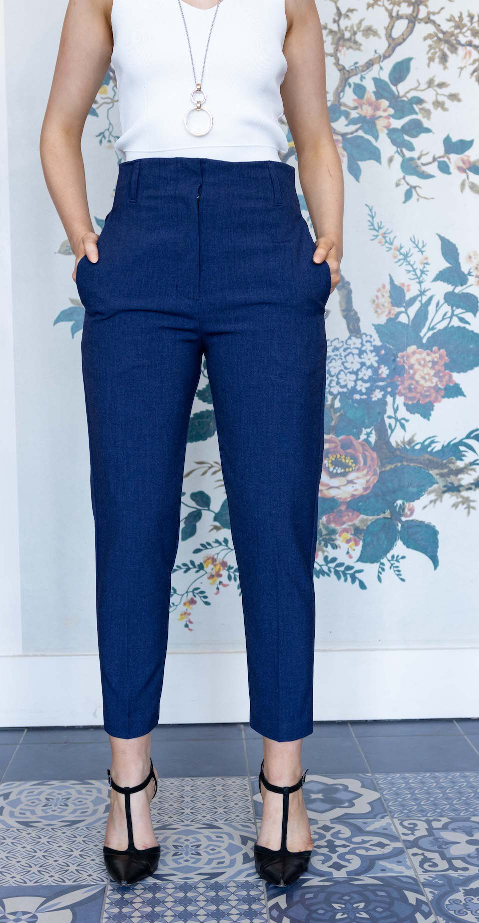 Navy High Waist Straight Suit Trouser