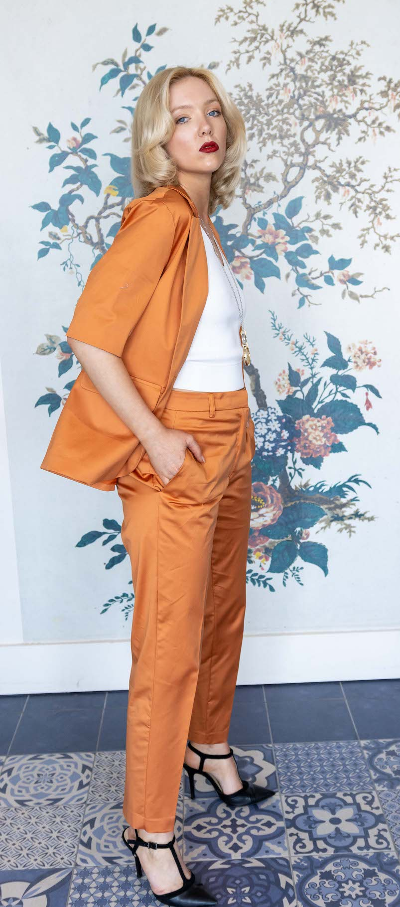 Orange Glazed Cotton Short Sleeve Jacket