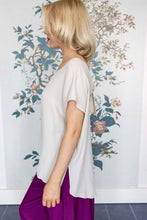 Load image into Gallery viewer, Stone Silk Mix Top With Bow Back