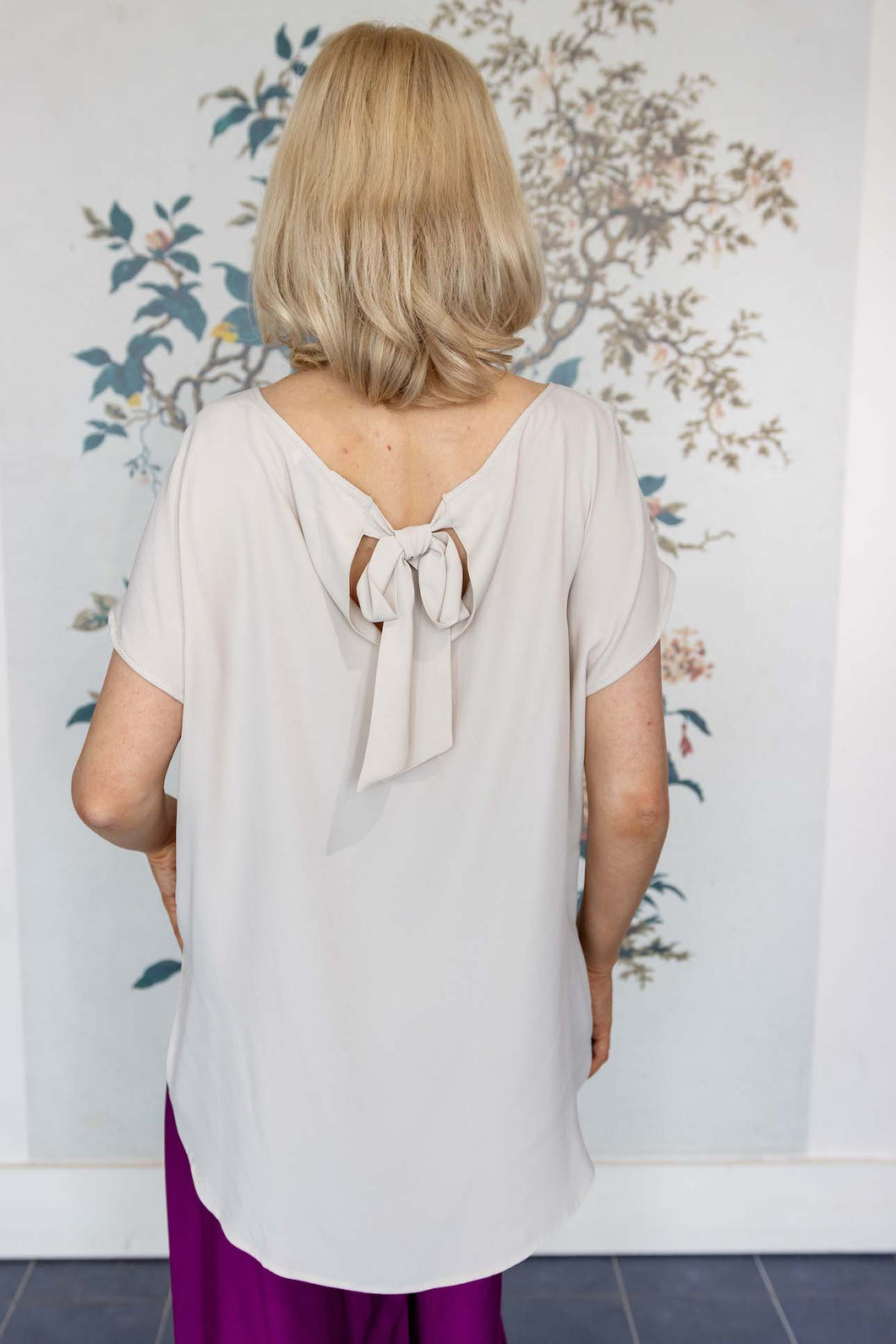 Stone Silk Mix Top With Bow Back