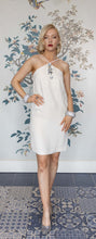 Load image into Gallery viewer, Soft White Crepe Mini Dress with Maxi Jewel Applique