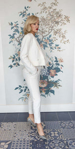Soft White Tuxedo Smoking Cigarette Trousers
