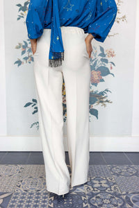 Cream Long Leg Palazzo Trousers