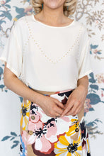 Load image into Gallery viewer, Cream Short Sleeve Viscose Top With Gold Bead Studs