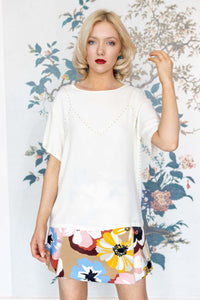 Cream Short Sleeve Viscose Top With Gold Bead Studs