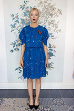 Load image into Gallery viewer, Electric Blue Mini Dress with drape sleeve & Red Heart