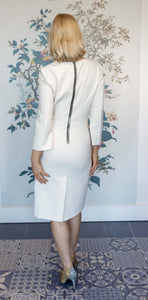 White Tailored Fitted Dress with 3/4 length sleeve