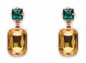 Yellow & Green Crystal Drop Earrings
