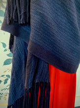 Load image into Gallery viewer, Navy Wool Blanket Scarf with Long Fringing