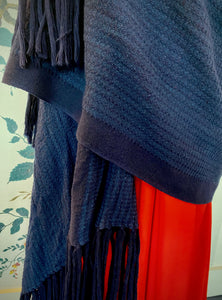 Navy Wool Blanket Scarf with Long Fringing
