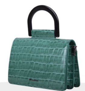 Emerald Green Croc Crossbody Bag