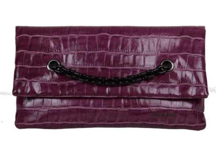 Cerise Pink Faux Croc Clutch Bag