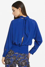 Load image into Gallery viewer, Azure Blue Silk Open Back Top