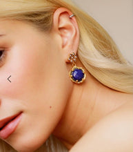 Load image into Gallery viewer, Gold plated Pearl Flower & Lapis Stone Drop Earring