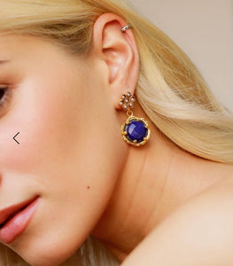 Gold plated Pearl Flower & Lapis Stone Drop Earring