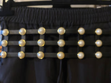 Load image into Gallery viewer, High Waist Black Cage Belt with Pearls